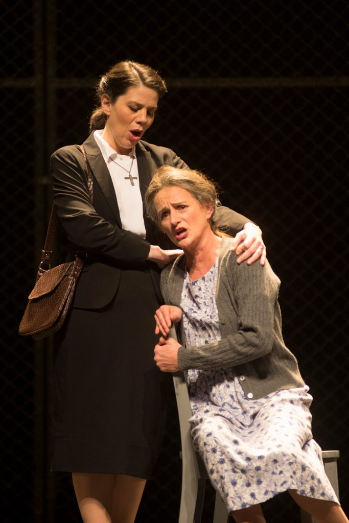 Allyson McHardy (Sister Helen), Kimberly Barber (Mrs. de Rocher). Dead Man Walking, Opera de Montreal 2013. Photo by Yves Renaud.