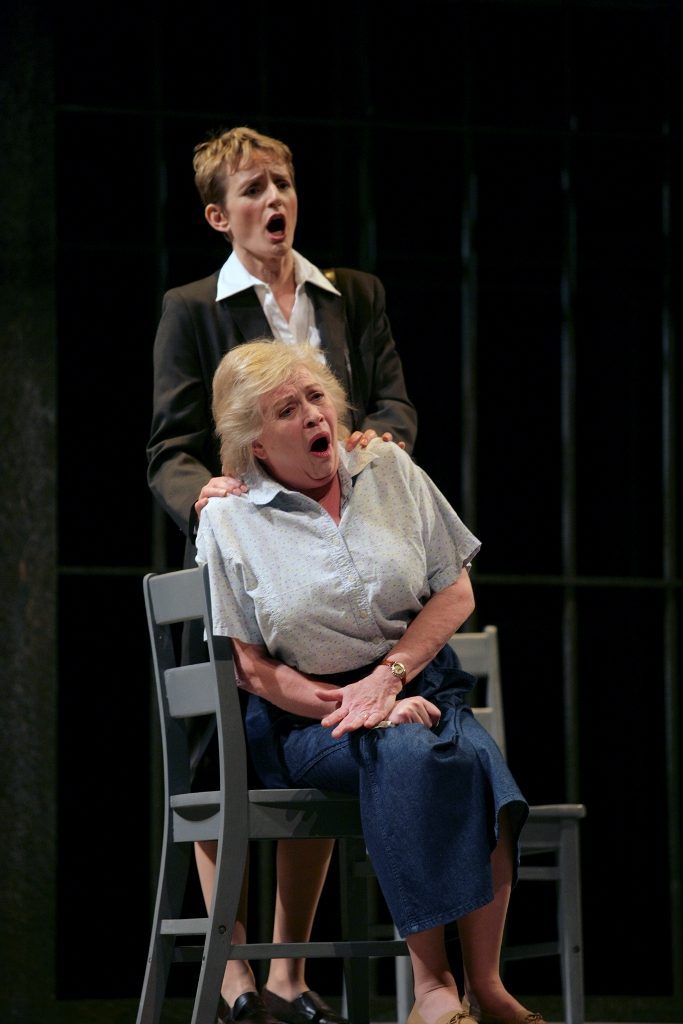 Kimberly Barber (Sister Helen); Judith Forst (Mrs. de Rocher), Dead Man Walking, Calgary Opera, 2006. Photo by Trudie Lee.