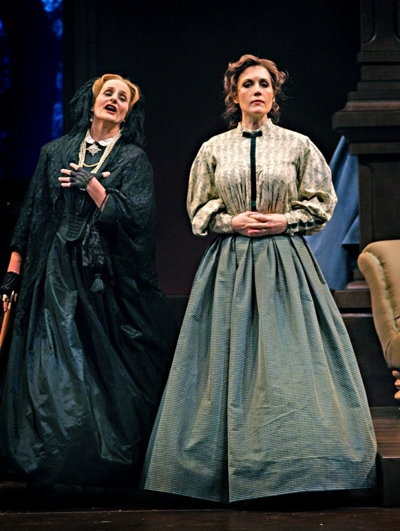Kimberly Barber (Cecilia March), Kristina Szabo (Meg) Little Women. Calgary Opera, 2010. Photo by Trudie Lee.